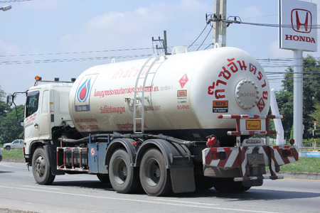 ngv: CHIANGMAI, THAILAND -SEPTEMBER  29 2015:   PTT LPG Gas truck. Photo at road no 121 about 8 km from downtown Chiangmai, thailand.