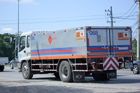 ngv: CHIANGMAI, THAILAND -OCTOBER  15 2015:   Ptt NGV Gas truck. Photo at road no 1001 about 8 km from downtown Chiangmai, thailand. Editorial