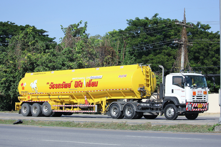 CHIANGMAI, THAILAND -NOVEMBER 18  2015:   Oil Truck of Watchara Sub Oil transport Company.  Photo at road no.11 about 3 km from city center, thailand.