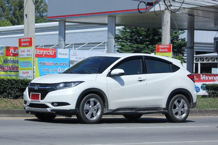 HONDA: CHIANGMAI, THAILAND -OCTOBER  16 2015:  Private car, Honda HRV. Photo at road no.121 about 8 km from downtown Chiangmai, thailand. Editorial