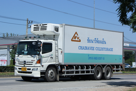 cold storage: CHIANGMAI, THAILAND -OCTOBER  17 2015:  Container truck of Chainavee Cold Storage Transportation company. Photo at road no.121 about 8 km from downtown Chiangmai, thailand.