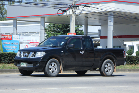 frontier: CHIANGMAI, THAILAND -OCTOBER  17 2015:   Private Pickup car, Nissan Frontier. Photo at road no 121 about 8 km from downtown Chiangmai, thailand.