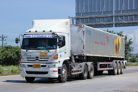 ngv: LAMPANG, THAILAND -OCTOBER  21 2015:   V2 Logistic Truck for Ptt NGV Car Gas. Photo at road no.11 about  20 km from city center, thailand. Editorial