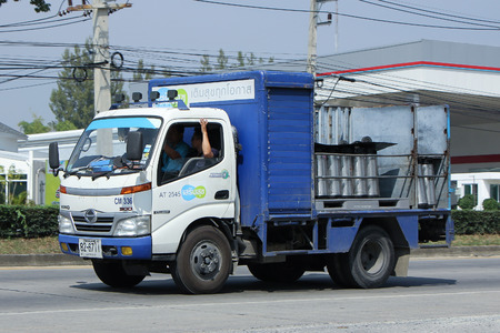 est: CHIANGMAI, THAILAND -OCTOBER  26 2015:  Truck of Sermsuk Company. Est cola Product. Photo at road no 121 about 8 km from downtown Chiangmai, thailand.