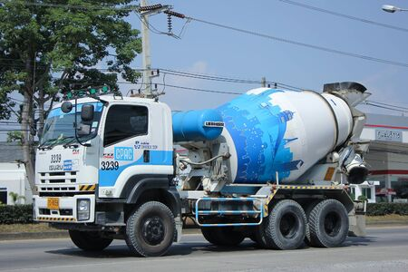 concrete truck: CHIANGMAI, THAILAND -OCTOBER  29 2015:  Concrete truck of CPAC Concrete product company. Photo at road no 1001 about 8 km from downtown Chiangmai, thailand. Editorial