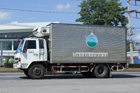 CHIANGMAI, THAILAND -NOVEMBER  1 2015:  Cold Container Truck of Royal Project. Photo at road no.1001 about 8 km from city center, thailand.
