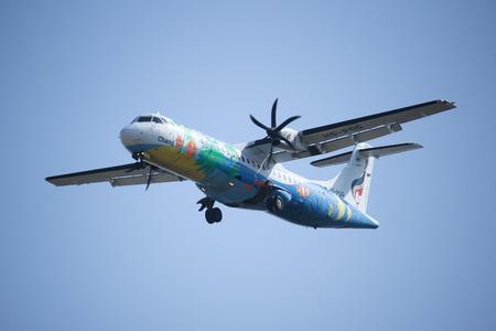CHIANGMAI, THAILAND -DECEMBER 16 2015:  HS-PGG ATR 72-200 of Bangkok airway ,Landing to Chiangmai airport. Flight from Yangoon. Editorial