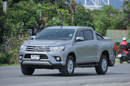 CHIANGMAI, THAILAND -NOVEMBER  3 2015:  Private Pickup car, Toyota Hilux. Photo at road no 121 about 8 km from downtown Chiangmai, thailand.