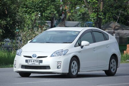 hybrid car: CHIANGMAI, THAILAND -NOVEMBER  3 2015:   Private Hybrid car, Toyota Prius. Photo at road no.121 about 8 km from downtown Chiangmai, thailand.