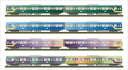 diesel train: Diesel Railcar train Illustration