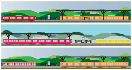diesel train: Diesel Railcar train at Staion Illustration
