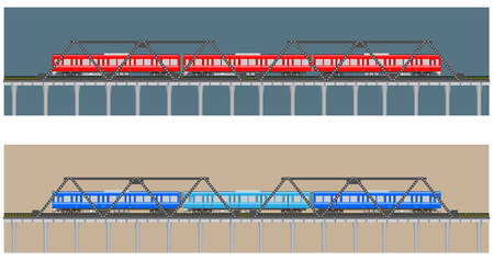 diesel train: Diesel Railcar train and bridge Illustration