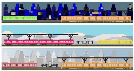 railcar: Diesel Railcar train at Staion Illustration