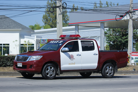 patrol officer: CHIANGMAI, THAILAND -NOVEMBER 6 2015:  Police car of Royal Thai Police. Photo at road no.121 about 8 km from downtown Chiangmai, thailand.