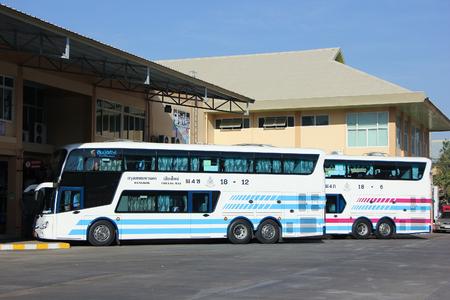 bus station: CHIANGMAI, THAILAND -JANUARY 10 2016:  Bus of Sombattour company. Route Bangkok and Chiangmai. Photo at Chiangmai bus station, thailand. Editorial