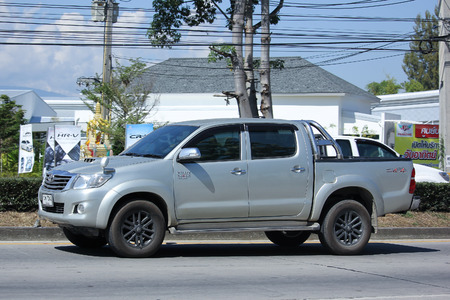 CHIANGMAI, THAILAND -NOVEMBER 6 2015:   Private Pickup car, Toyota Hilux. Photo at road no 121 about 8 km from downtown Chiangmai, thailand.