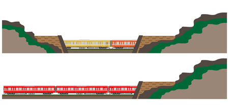 diesel train: Diesel Railcar train and tunnel Illustration