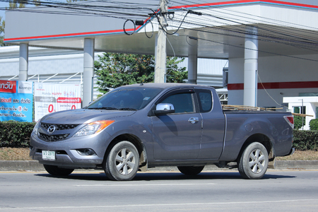 mazda: CHIANGMAI, THAILAND -NOVEMBER 6 2015:   Private Pickup car, Mazda. Photo at road no 121 about 8 km from downtown Chiangmai, thailand.
