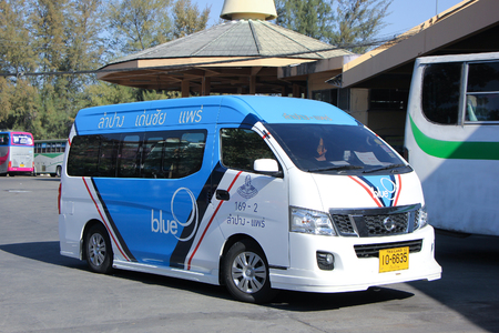 sub station: CHIANGMAI, THAILAND -JANUARY 10 2016:  Van of Blue9 Company, Sub Company of Greenbus company. route Lampang and Phrae. Photo at Chiangmai bus station, thailand. Editorial
