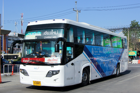 sub station: CHIANGMAI, THAILAND -JANUARY 10 2016:  Bus of Blue 9 band, Sub Brand from Greenbus Company. Route Bangkok and Chiangmai. Photo at Chiangmai bus station, thailand.