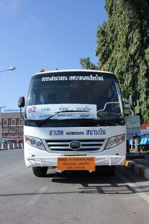 mini bus: CHIANGMAI, THAILAND -JANUARY 10 2016:    Yutong Mini Bus. New bus of Chiangmai city bus or CMB. CMB management by ChiangMai Municipality. Photo at Chiangmai Bus station,Chiangmai, thailand.