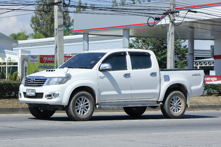 CHIANGMAI, THAILAND -NOVEMBER 9 2015:  Private Pickup car, Toyota Hilux. Photo at road no 121 about 8 km from downtown Chiangmai, thailand. Editoriali