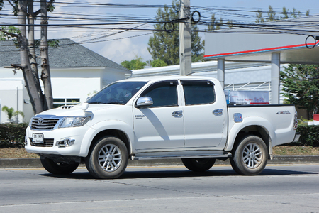 CHIANGMAI, THAILAND -NOVEMBER 9 2015:  Private Pickup car, Toyota Hilux. Photo at road no 121 about 8 km from downtown Chiangmai, thailand. Editorial