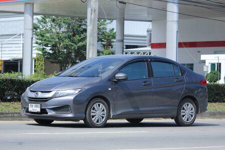 8 12: CHIANGMAI, THAILAND -NOVEMBER 12 2015:   Private City Car, Honda City. Photo at road no.121 about 8 km from downtown Chiangmai, thailand. Editorial
