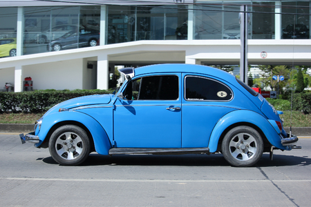 CHIANGMAI, THAILAND -NOVEMBER 14 2015: Vintage Private Car, Blue of Volkswagen beetle. Photo at road no.1001 about 8 km from downtown Chiangmai, thailand.