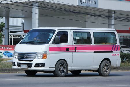 nissan: CHIANGMAI, THAILAND -NOVEMBER 19 2015:  Private Nissan Urvan Van for rent to Travel. Photo at road no.1001 about 8 km from downtown Chiangmai, thailand.