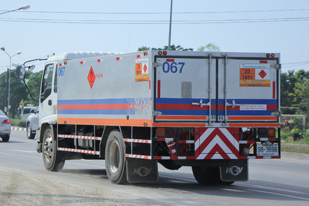 ngv: CHIANGMAI, THAILAND -NOVEMBER 20 2015:   Ptt NGV Gas truck. Photo at road no 1001 about 8 km from downtown Chiangmai, thailand. Editorial