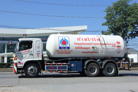 ngv: CHIANGMAI, THAILAND -NOVEMBER 21 2015:  PTT LPG Gas truck. Photo at road no 121 about 8 km from downtown Chiangmai, thailand.