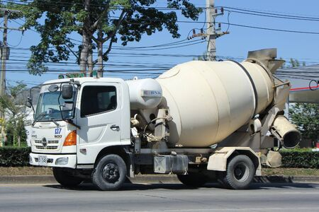 concrete truck: CHIANGMAI, THAILAND -NOVEMBER 22 2015:  Concrete truck of Chiangmai Concrete product company. Photo at road no.121 about 8 km from downtown Chiangmai, thailand.