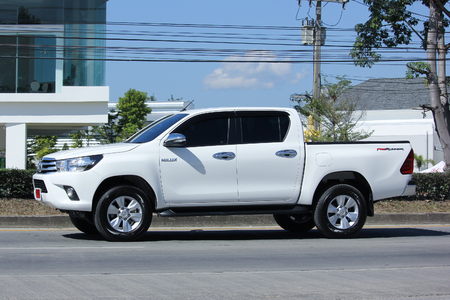 CHIANGMAI, THAILAND -NOVEMBER 24 2015: Private Pickup car, Toyota Hilux. Photo at road no 121 about 8 km from downtown Chiangmai, thailand.