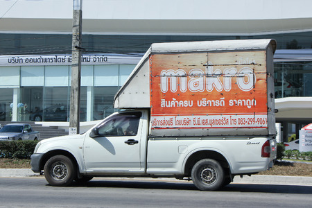 makro: CHIANGMAI, THAILAND -NOVEMBER 26 2015:  Cargo truck of Makro Supermarket. Photo at road no.1001 about 8 km from downtown Chiangmai, thailand.