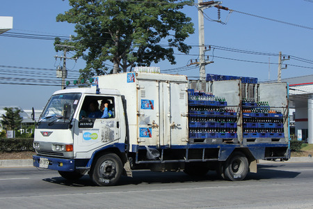 8   12: CHIANGMAI, THAILAND -DECEMBER 12 2015:  Truck of Sermsuk Company. Est cola Product. Photo at road no 121 about 8 km from downtown Chiangmai, thailand.