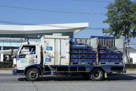 est: CHIANGMAI, THAILAND -DECEMBER 12 2015:  Truck of Sermsuk Company. Est cola Product. Photo at road no 121 about 8 km from downtown Chiangmai, thailand.