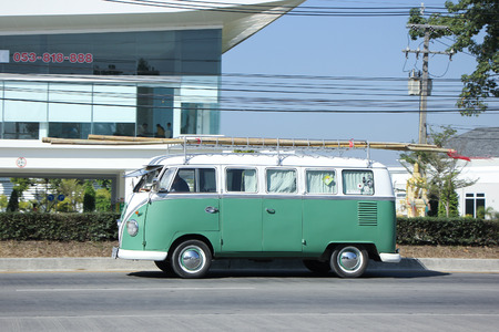 8   12: CHIANGMAI, THAILAND -DECEMBER 12 2015:   Vintage volkswagen van. Photo at road no.121 about 8 km from downtown Chiangmai, thailand.