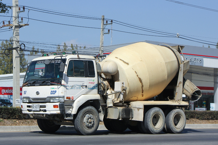 concrete truck: CHIANGMAI, THAILAND -JANUARY 15 2016:  Concrete truck of Chiangmai Concrete product company. Photo at road no.121 about 8 km from downtown Chiangmai, thailand.