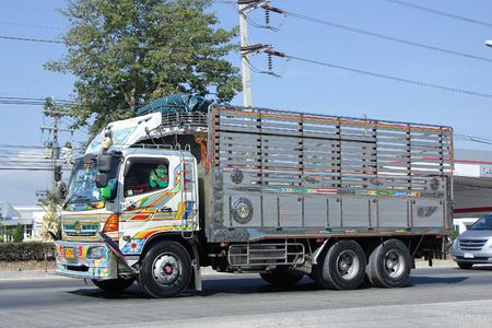 choke: CHIANGMAI, THAILAND -JANUARY 15 2016:  Cargo truck of Mee Choke Transport Company. Photo at road no.1001 about 8 km from downtown Chiangmai, thailand. Editorial