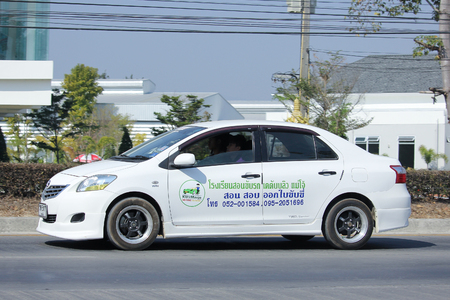 kw: CHIANGMAI, THAILAND -JANUARY 19 2016:  Toyota Vios of KW Maejo Driving School.  Photo at road no.1001 about 8 km from downtown Chiangmai, thailand.
