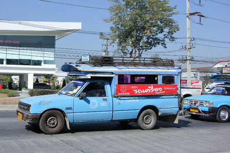 lamphun: CHIANGMAI, THAILAND -JANUARY 21 2016:   Blue Pickup  truck taxi Lamphun, Service between Lamphun city and Around. Photo at road no.121 about 8 km from downtown Chiangmai, thailand.