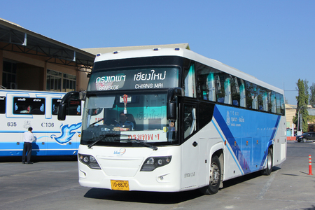 sub station: CHIANGMAI, THAILAND -JANUARY 23 2016:    Bus of Blue 9 band, Sub Brand from Greenbus Company. Route Bangkok and Chiangmai. Photo at Chiangmai bus station, thailand.