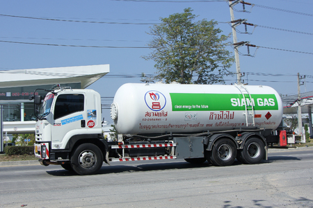 ngv: CHIANGMAI, THAILAND -FEBRUARY 2 2016:   Siam Gas Company Tank Truck. Photo at road no 1001 about 8 km from downtown Chiangmai, thailand.