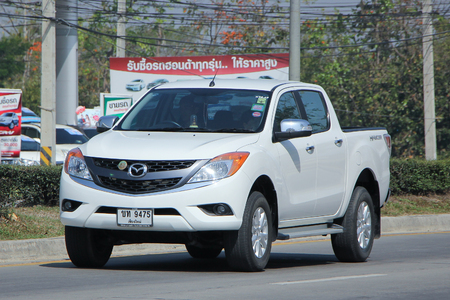 mazda: CHIANGMAI, THAILAND -FEBRUARY 2 2016:   Private Pickup car, Mazda. Photo at road no 121 about 8 km from downtown Chiangmai, thailand. Editorial