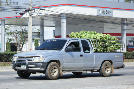 CHIANGMAI, THAILAND -FEBRUARY 4 2016:   Private Pickup car, Toyota Hilux. On road no.1001, 8 km from Chiangmai city.