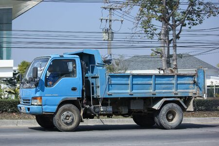 highway 6: CHIANGMAI, THAILAND -FEBRUARY 8 2016:  Dump Truck of Sor Service Transport. On road no.1001, 8 km from Chiangmai city.