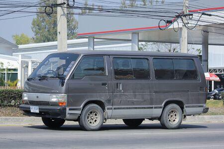 CHIANGMAI, THAILAND -FEBRUARY 8 2016:   Private Toyota Hiace old Van Car.  On road no.1001, 8 km from Chiangmai city. Editoriali