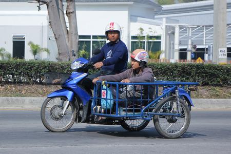 motobike: CHIANGMAI, THAILAND -FEBRUARY 9 2016:   Private Honda Dream Motorcycle.  On road no.1001, 8 km from Chiangmai city. Editorial