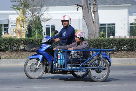 HONDA: CHIANGMAI, THAILAND -FEBRUARY 9 2016:   Private Honda Dream Motorcycle.  On road no.1001, 8 km from Chiangmai city. Editorial